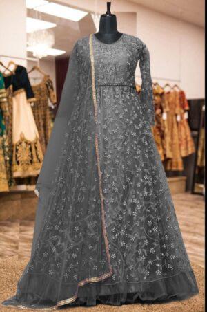 Good-Looking Grey Colored Net Embroidered Stone Work Wedding Wear Anarkali Salwar Suit
