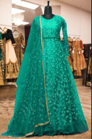 Comely Rama Green Net Embroidered Stone Work Wedding Wear Anarkali Salwar Suit