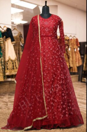 Pretty Red Colored Net Embroidered Stone Work Wedding Wear Anarkali Salwar Suit