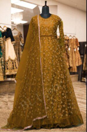 Sensational Mustard Colored Net Embroidered Stone Work Wedding Wear Anarkali Salwar Suit