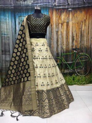 Radiant Black Colored Banarasi Brocade Wedding Wear Lehenga Choli designs online