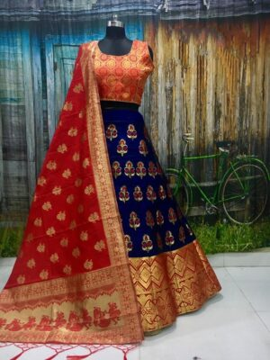 Ravishing Red & Royal Blue Banarasi Brocade Wedding Wear Lehenga Choli designs online