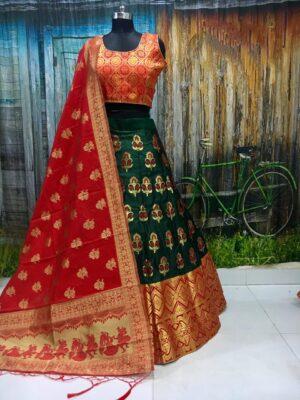 Striking Green & Red Banarasi Brocade Wedding Wear Lehenga Choli designs online