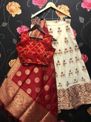 Dazzling Cream & Maroon Banarasi Brocade Wedding Wear Lehenga Choli designs online