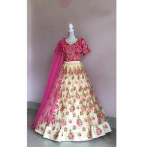 Devastating Offwhite & Pink Designer Net Embroidered Zari Thread Work Lehenga Choli designs online