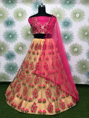 Magnificent Pink & Cream Designer Net Embroidered Zari Thread Work Lehenga Choli designs online