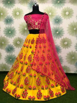 Glorious Pink & Yellow Designer Net Embroidered Zari Thread Work Lehenga Choli designs online