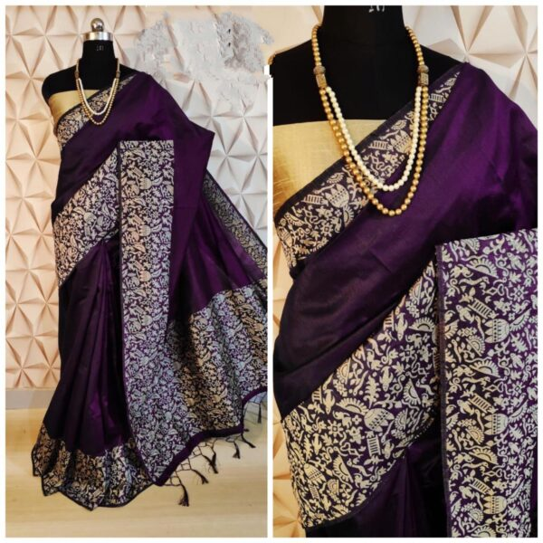 Smashing Wine Colored Raw Silk designer fancy party wear sarees online