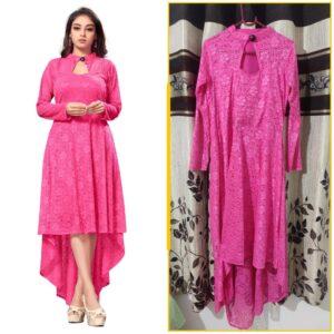 Impressive Pink Colored Designer Raschel Jaquard Latest long Kurti Design