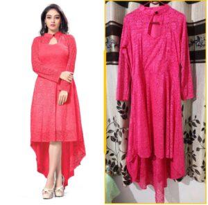 Amazing Dark Pink Colored Designer Raschel Jaquard Latest long Kurti Design