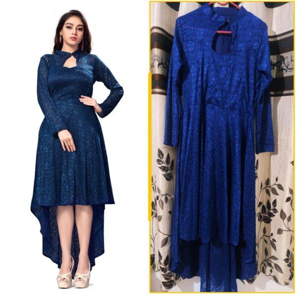 Marvellous Royal Blue Colored Designer Raschel Jaquard Latest long Kurti Design