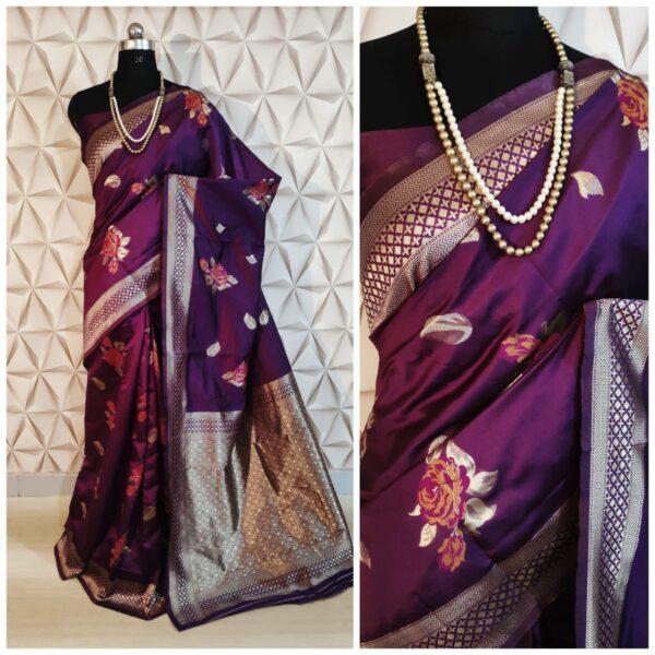 Good-Looking Wine Colored Soft Silk With Rich Pallu designer saree online