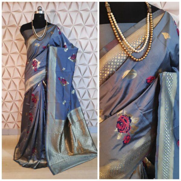 Sensational Grey Colored Designer Silk With Rich Pallu Butta designer saree online
