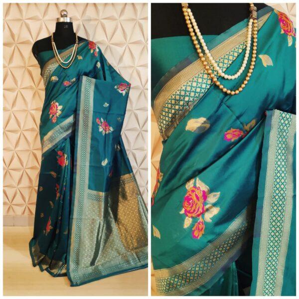 Ravishing Rama Colored Soft Silk With Rich Pallu designer saree online