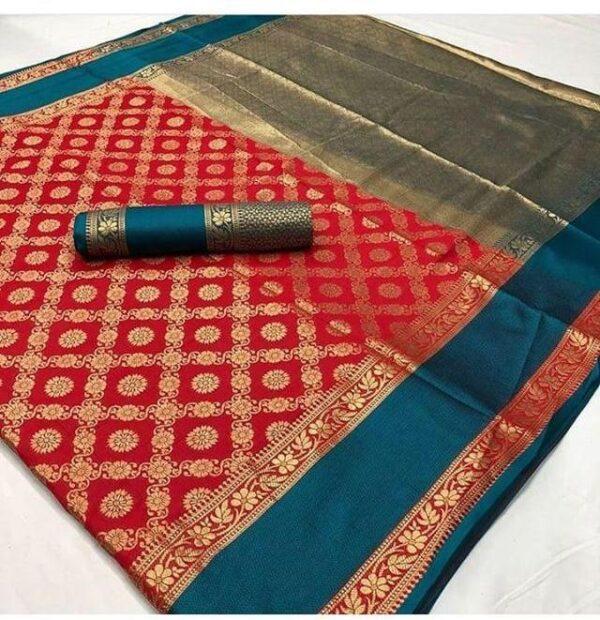 Striking Red & Blue Silk Weaving Jaquard Designer designer saree online