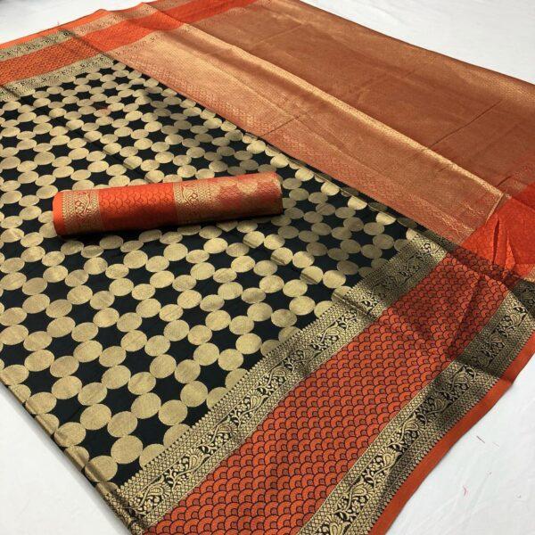 Bewitching Black & Orange Soft Silk With Rich Pallu designer saree online