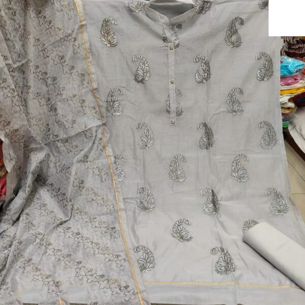 Exquisite Grey Colored Heavy Modal With Embroidered Work Salwar Suit