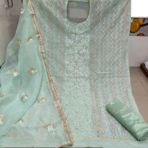 Smashing Light Sea Green Modal With Embroidered Work Dress Material