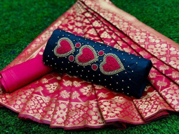 Splendid Pink & Navy Blue Cotton With Hand Work Salwar Suit