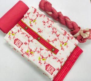 Mind-Boggling Red & Cream Cotton Printed Salwar Suit