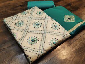 Fabulous Cream & Light Rama Blue Chanderi Katha Work Salwar Suit