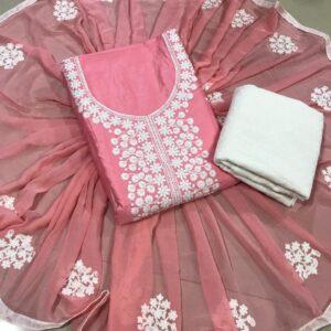 Tremendous Peach Colored Glaze Cotton Unstitched Salwar Suit