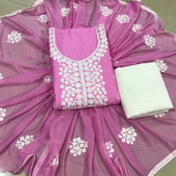Beautiful Pink Colored Cotton Embroidered Work Salwar Suit