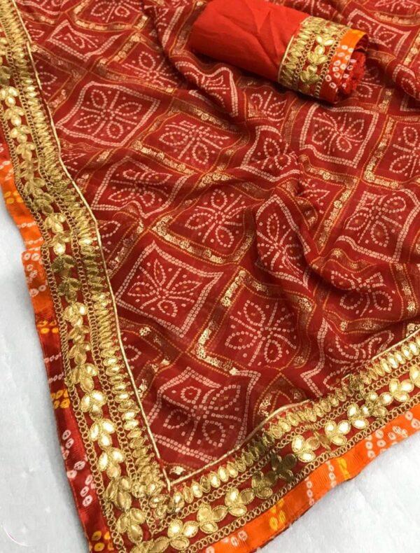 Comely Red Designer Bandhani Georgette Gota Patti Work designer saree online