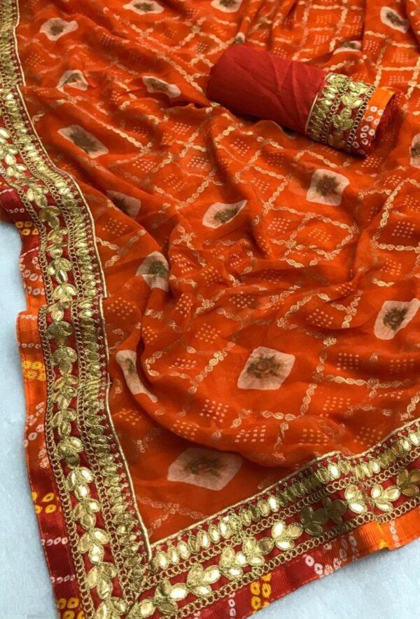 Pretty Orange Designer Bandhani Georgette Gota Patti Work designer saree online