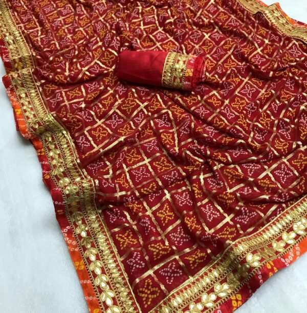 Sensational Maroon Designer Bandhani Georgette Gota Patti Work designer saree online