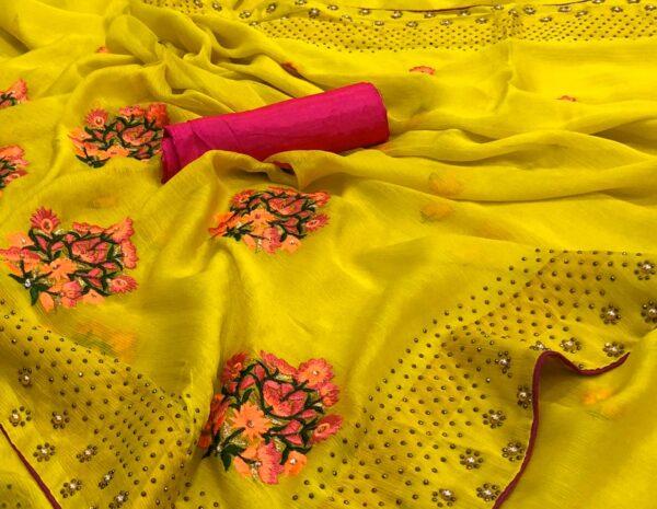 Striking Yellow Colored Satin Silk Diamond Machins Stone Work designer saree online