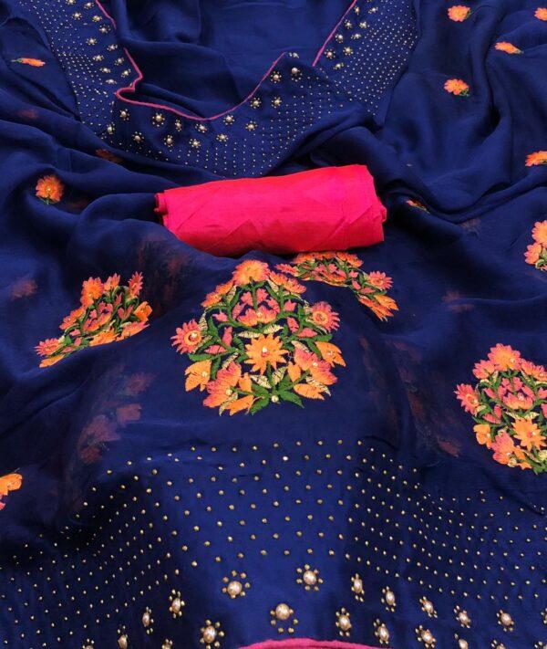 Dazzling Navy Blue Colored Satin Silk Diamond Machins Stone Work designer saree online