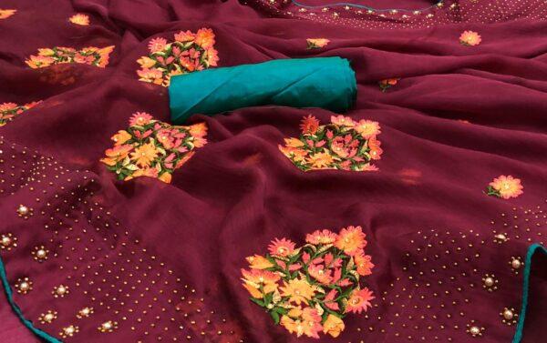 Devastating Maroon Colored Satin Silk Diamond Machins Stone Work designer saree online