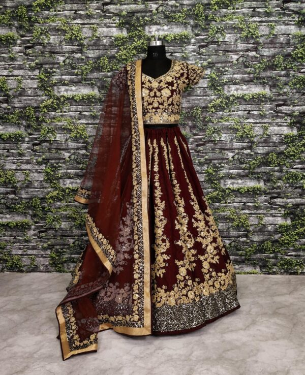 Glorious Maroon Designer Raw Silk Dori Sequence Work Lehenga Choli Online
