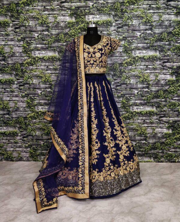 Captivating Navy Blue Designer Raw Silk Dori Sequence Work Lehenga Choli Online