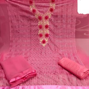 Alluring Carrot Colored Georgette With Embroidered Diamond Work Salwar Suit