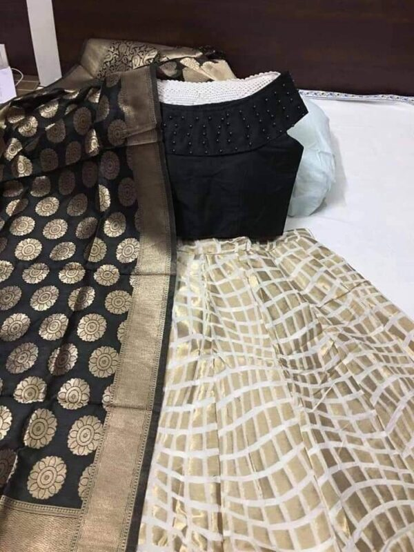 Good-Looking Black Colored Designer Banarasi Brocade Wedding Wear Lehenga Choli