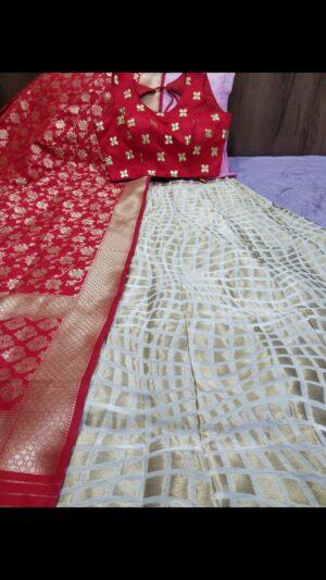 Sensational Red Colored Banarasi Brocade Lehenga Choli