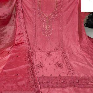 Ravishing Carrot Colored Designer Cinnon Embroidered Diamond Work Salwar Suit