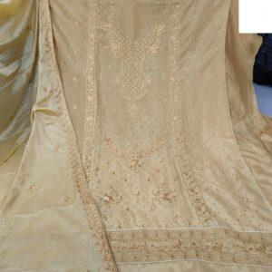 Striking Chiku Colored Cinnon Embroidered Diamond Work Salwar Suit