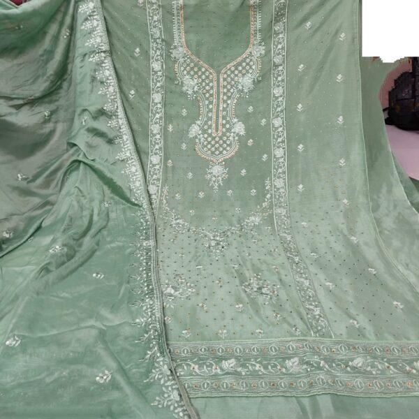 Dazzling Pista Colored Cinnon Embroidered Diamond Work Salwar Suit
