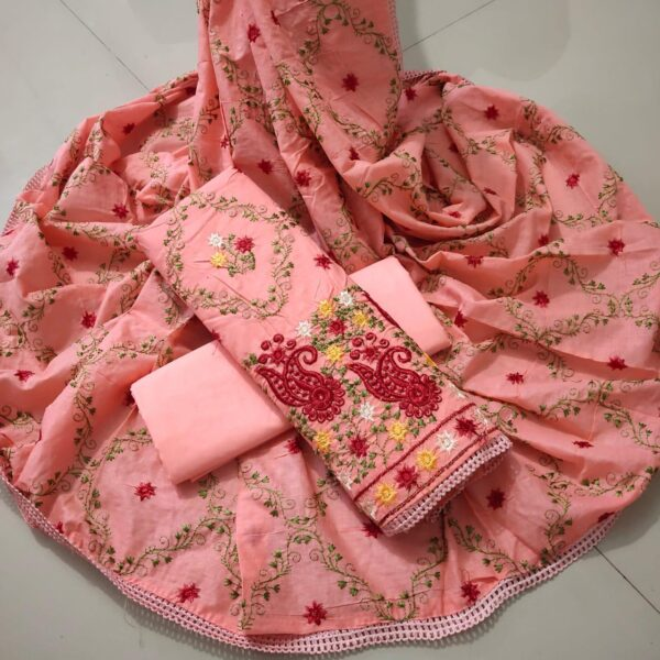Magnificent Peach Colored Cotton Embroidered Work Salwar Suit