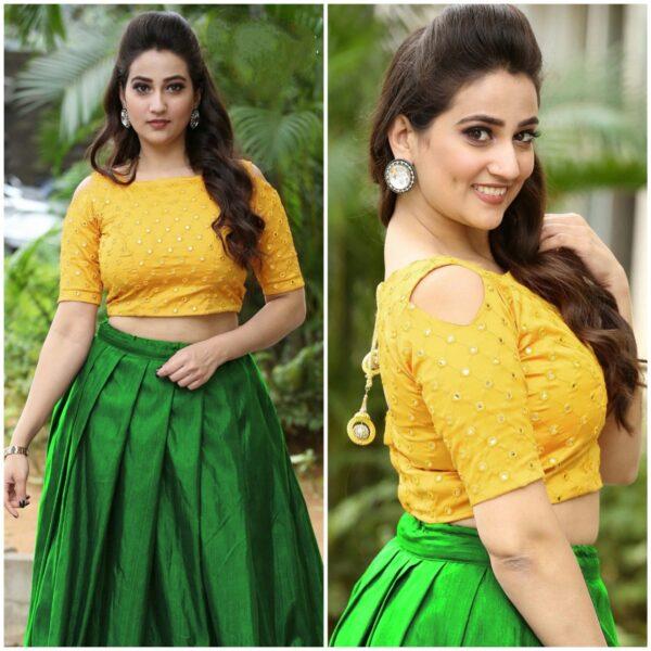 Gorgeous Green & Yellow Designer Mirror Work Banglori Silk Lehenga Choli