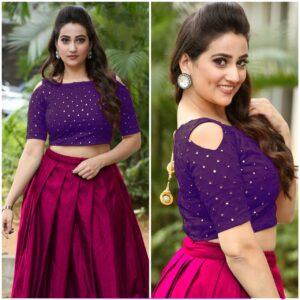 Knockout Pink & Purple Designer Mirror Work Banglori Silk Lehenga Choli
