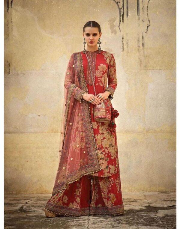 Smashing Red Colored Heavy Golden Zari Silk Fully Stitched Plazo Kurta