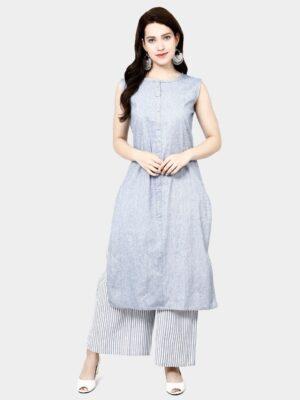 Beauteous Grey Colored Cotton Printed Plazo & Kurti Set
