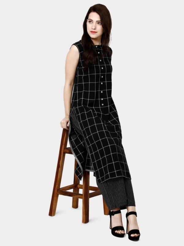 Remarkable Black Colored Chex Design Pure Cotton Plazo & Kurti Set