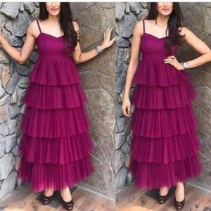 Incredible Wine Colored Designer Net Ruffle Party Wear Gown
