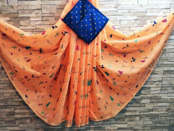 Amazing Orange Colored Cotton Linen Zari Print Golden Border Saree