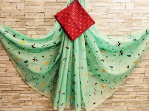 Astonishing Pista Colored Linen Cotton Golden Border Zari Print Saree